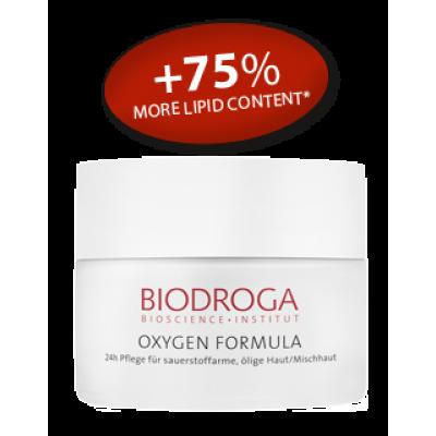 Омолаживающий кислородный крем день ночь для жирной и комбинированной кожи Biodroga 24h Care for sallow oily/combination skin